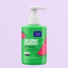 Clean & Clear watermelon gel cleanser, oil free 7.5 Fluid ounce green bottle with white pump