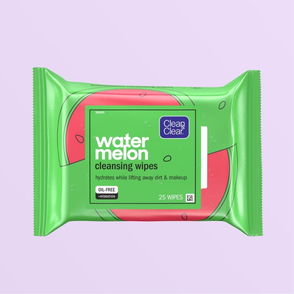 Watermelon Cleansing Wipes, 25 wipes in oil-free reusable cartoon watermelon packing